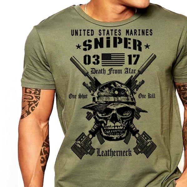 2019 Hot Sale USMC Scout Sniper T-Shirt US Marines MOS 0317 Combat Arms Men Cotton Tee New