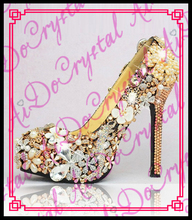 Aidocrystal goddess series gold crystal rhinestones bling 14cm high heel women shoes with many flowers