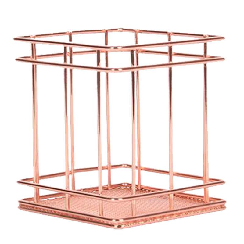 Nórdico Suporte da Pena Quadrado Ouro Rosa Quadrado Cesta De Armazenamento De Cozinha Pauzinhos Gaiola de Ferro Cesta de Armazenamento Diversos