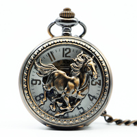 Clamshell Mechanical Man Pocket Watch Horse Gallop Women Gift Table Rome Classic Manual Hanging Table