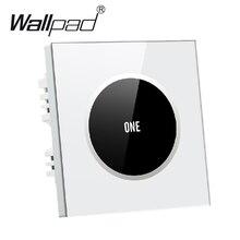 Hign конец белый 1 банда 1 способ стеклянная панель сенсорный выключатель света Бесплатная дизайн логотип Кнопка 250 В ~ 110 В настенный сенсорный переключатель, бесплатная доставка