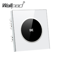 Hign End White 1 gang 1 way Glass Panel Touch Light Switch Free Design Logo Button 110V~250V wall touch switch,Free Shipping