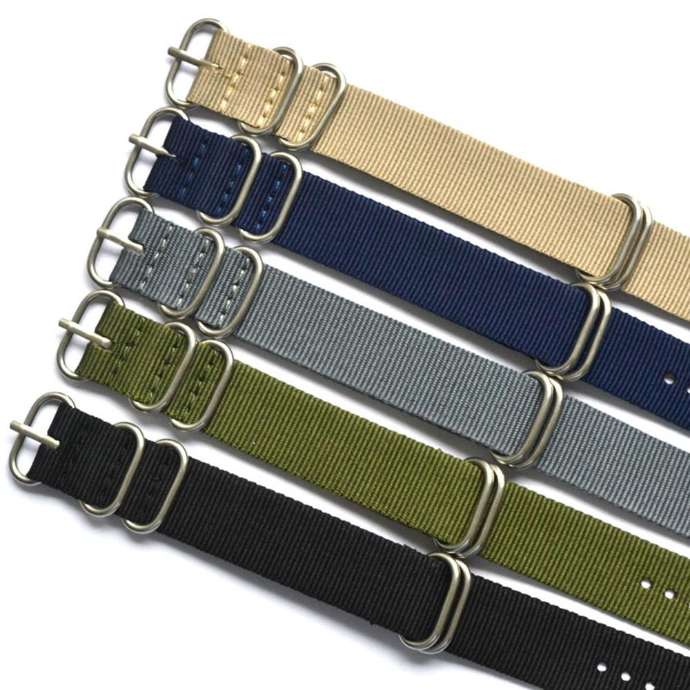 New 5 Colors NATO Watchband Nylon Strap Silver Ring Buckle 18mm 20mm 24mm Striped Replacement Band Watch Accessories