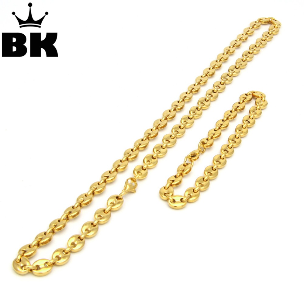 THE BLING KING 8mm Puffed Mariner Link Chain Bracelet Set Gold Silver Plated Hip Hop Punk Jewelry Men 225cm 55cm