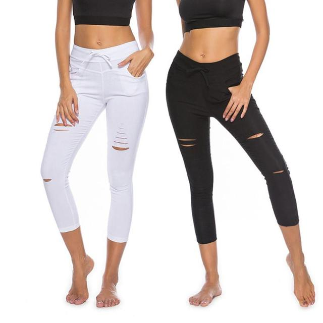 0dd832813 New 2018 Skinny Jeans Women Denim Pants Holes Destroyed Knee Pencil Pants  Casual Trousers Black White Stretch Ripped Jeans