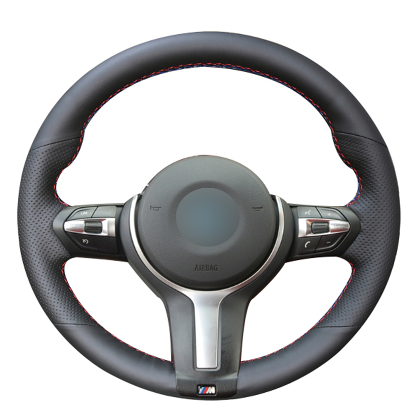 Black Natural Leather Car Steering Wheel Cover for BMW F87 M2 F80 M3 F82 M4 M5
