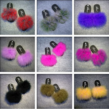 15 Colors Ostrich Hair Slippers Fur Furry Slide Flip Flops Women Home Slippers Female Sweet Fenty Indoor Soft Comfotable(China)