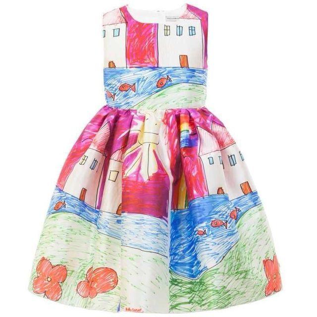 2017 mais novo do bebê girls dress roupas de bebê sem mangas 1-2years tops jumpers vestidos de bebê rosa graffiti aniversários presente de qualidade superior
