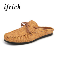 Mens Summer Breathable Shoes Loafers Half slippers Men Brown White Youth Fashion Designer Male Pu Leather