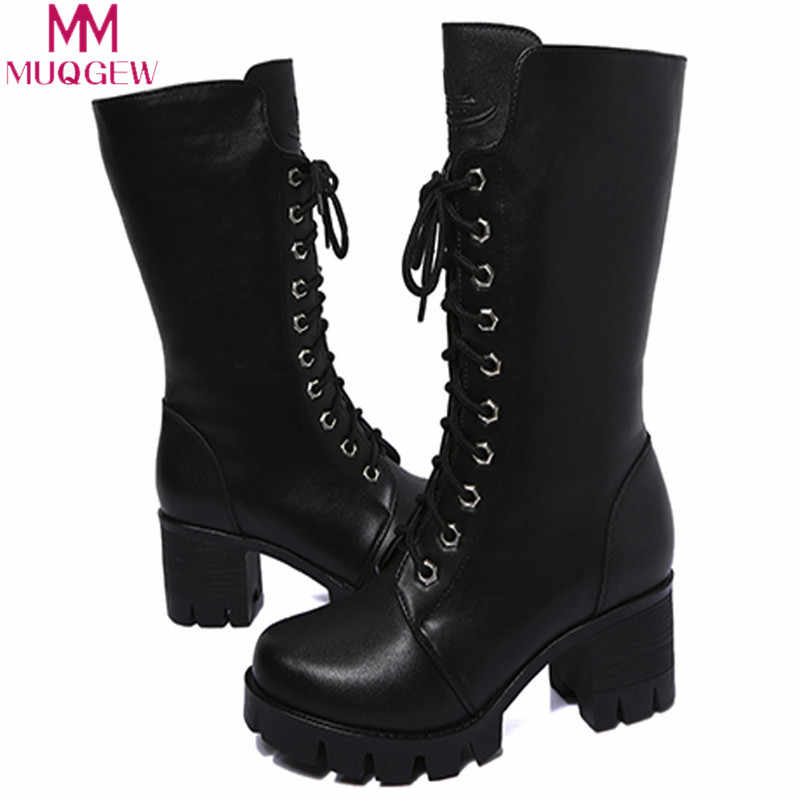 MUQGEW winter shoes Women Ankle Booties Leather Knight Ladies casual  Boots Zip Cowboy boots women shoes zapatos de mujer