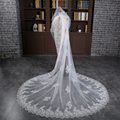 Gorgeous 3 Meters White/Ivory Sequined Lace Mantilla Cathedral Wedding Veil Bridal Veil Long Comb Wedding Accessories MD3008