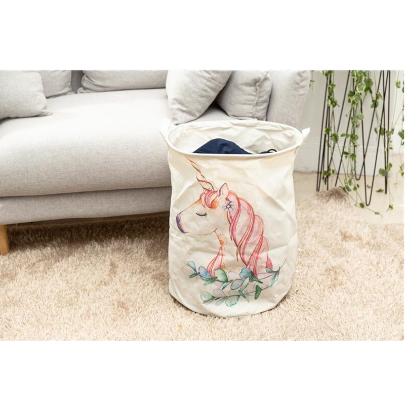 40*50cm Animal Unicorn Laundry Baskets Large Cotton Linen Clothing Storage Bucket Foldable Kids Toy Organizer Laundry Hamper 1pc