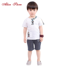 2018 Children's Summer Tang Suit Baby Boys Cotton and Linen Clothing Sets Print Top + Shorts 2pcs Han Clothing Free Shipping