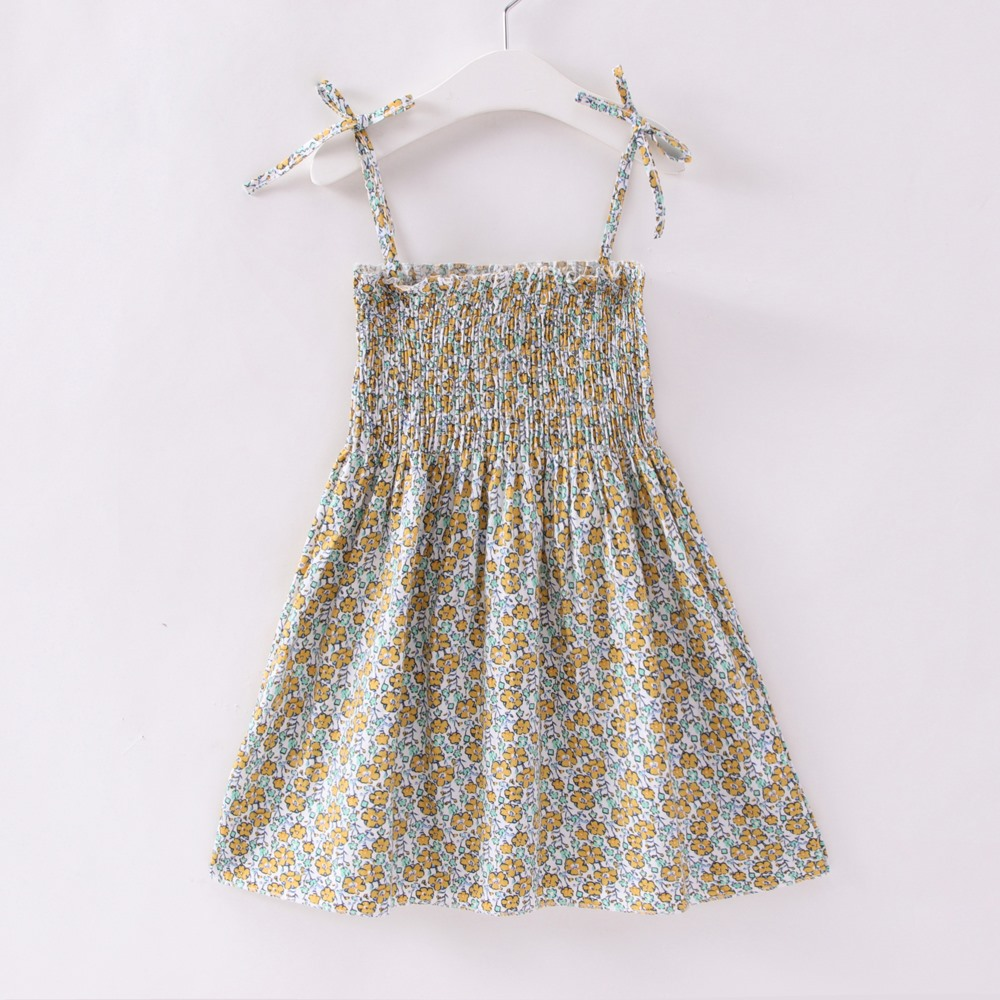 2018 Summer New Baby Clothes Bebe Baby Ruched Party Dresses Girl Printed Floral Cool Kid Costume Causal Loose Cute Dress