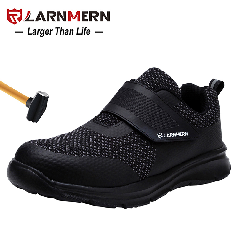 LARNMERN Men s Safety Shoes Steel Toe Construction Protective Footwear Lightweight 3D Shockproof Work Sneaker Shoes