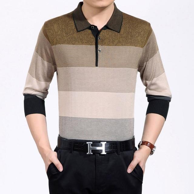 3aab36e64 mens long sleeve polo shirt cotton thick stripes polo shirts long sleeve  polo shirts men ralp men 3XL golf Gradient color lapels