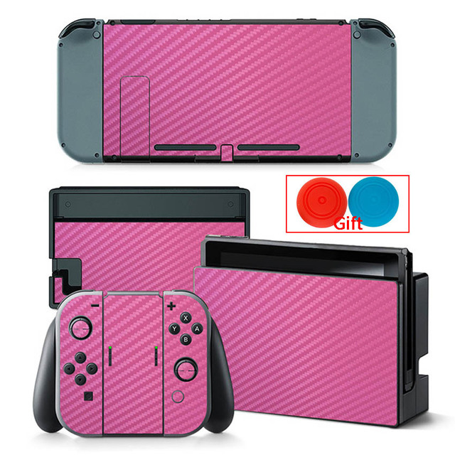 Carbon Fiber Sticker For Nintendo Switch Protection Skin Console Protector Stickers + 2pcs Silicone Protection Caps 3