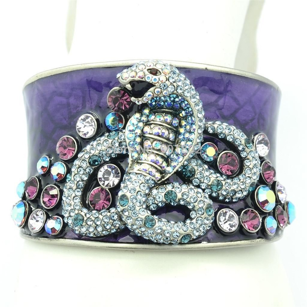 Hi-Q Purple Austrian Crystal Cloisonne enamel Bracelet Cuff Animal Snake Bangles For Women Gift 1971 цена