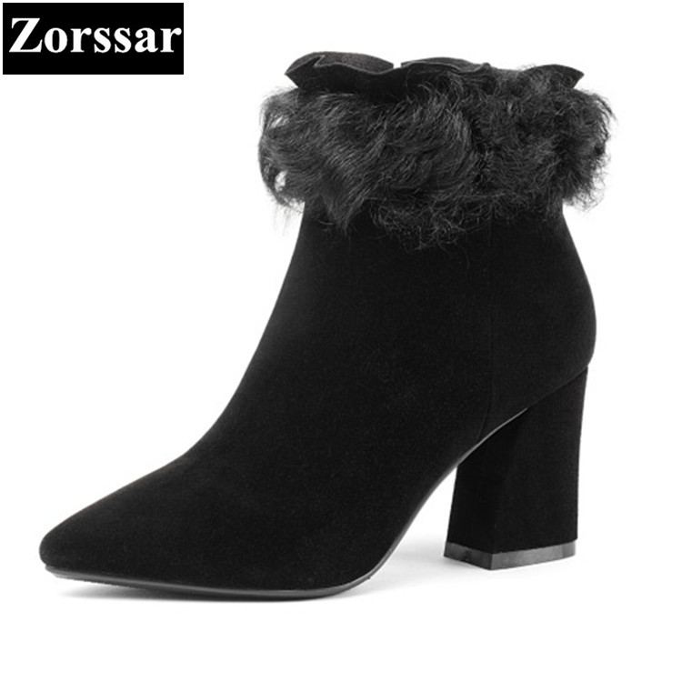 {Zorssar} 2018 NEW High quality fashion Women Boots Kid Suede pointed Toe High heels ankle snow boots autumn winter female shoes zorssar 2017 new winter female shoes fashion high heels pointed toe short boots suede womens ankle boots shoes women heels