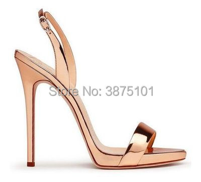 Black Women Straps High Heel Sandals Basic Strappy Heeled Dress Shoes Rose Gold Patent Leather Shiny Blue Slim Sandals