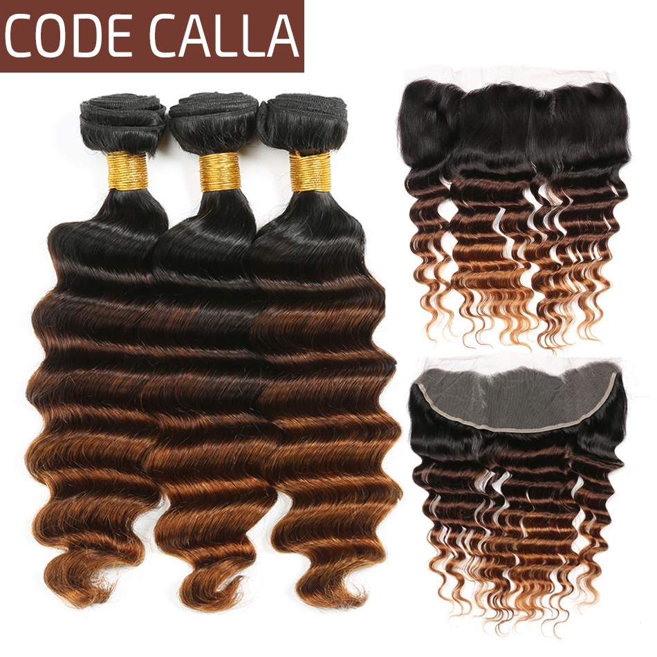 Code Calla Ombre Color Loose Deep Bundles With 13*4 Lace Frontal Free Part Closure Brazilian Raw Virgin 100% Human Hair Bundles
