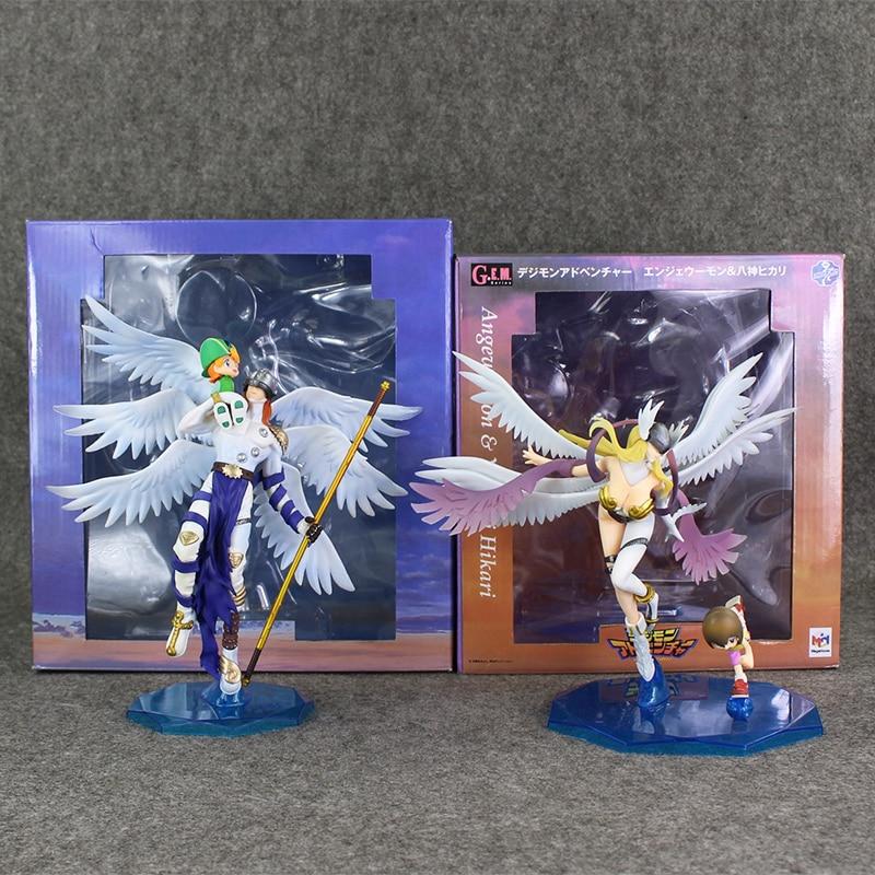 Digimon Angemon Angewomon Figure Takaishi Takeru Yagami Hikari PVC Model Toy 22 24cm Anime Dolls