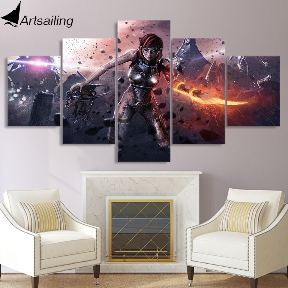 5 piece canvas wall art framed mass effect Female warrior game poster canvas painting picture for decor free shipping XA2250A image
