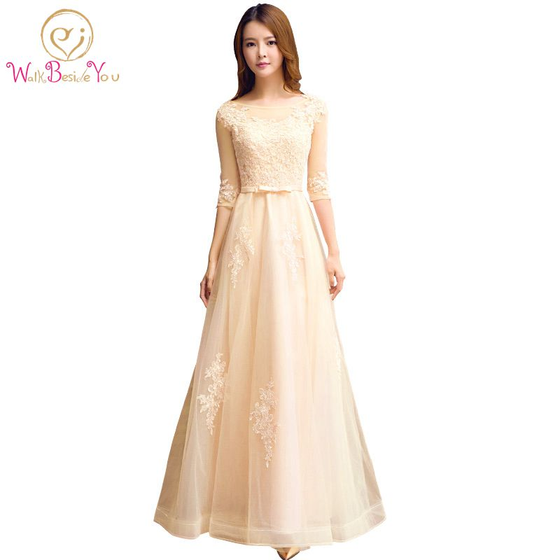 Elegant Champagne Aftonklänning O-Neck A-Line Golvlängd Snörning Snygga Prom Klänningar Robe De Soiree Party Dress With 3/4 Sleeves