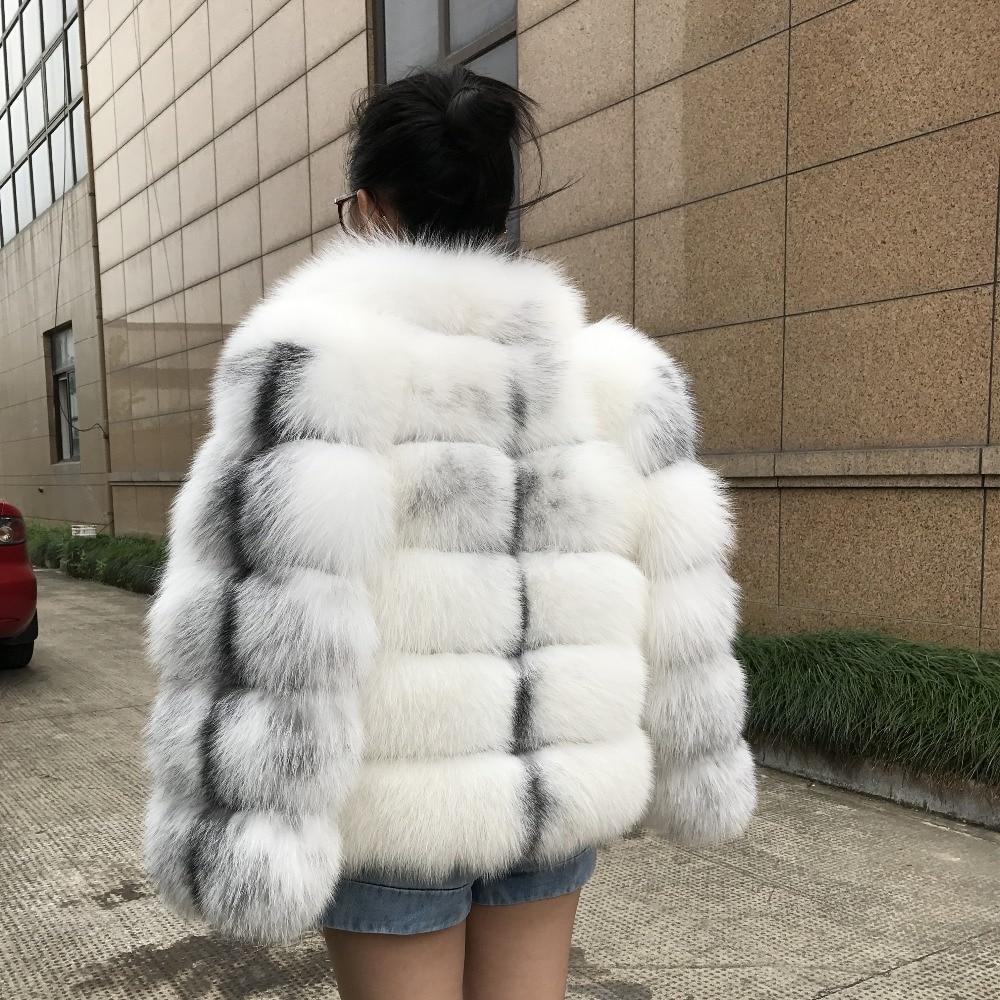 Fashion Real Fox Fur Coat Women Winter Female Genuine Fur Jacket Customize Genuine Leather Silver Natural Fox Fur Coat for Women