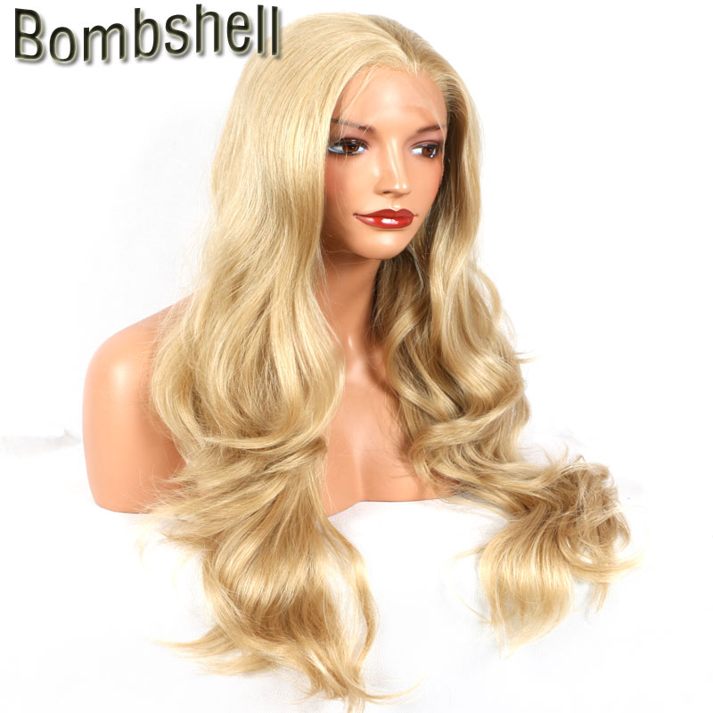 Bombshell Honey gold natural wave synthetic lace front wig glueless heat resistant fiber with natural hairline