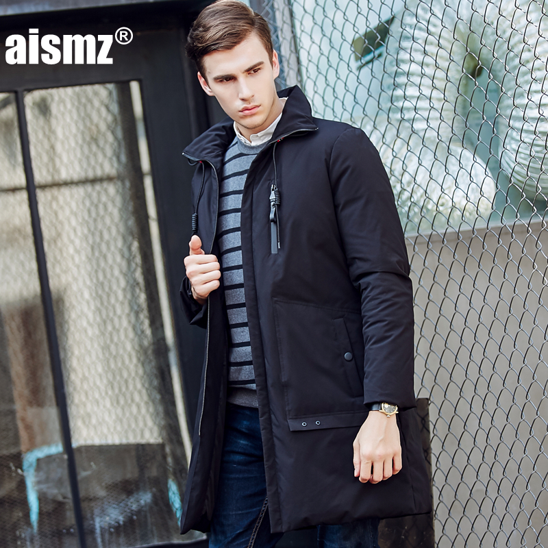 Aismz Mens Hooded Long Duck Down Padded Jackets Man Thick Winter Down Coats Male Fashion Long Overcoat Keep Warm Outerwear 1723