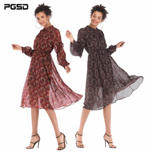 PGSD Autumn winter Fashion women clothes bowknot Flower printing Medium length Loose long sleeve pendant Chiffon Dress female