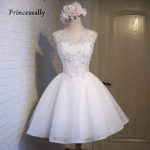 New Short Wedding Dress Reception White Appliques Beading Embroidery Flower  Sheer Neck Wedding Prom Party Gown Robe De Marriage 6488e2f67fd4
