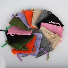 10pcs Cotton Linen Gift Bags Wedding Party Favor Holder Christmas Pouch Neckalce Bracelets Jewelry Bag 7x9cm(China)