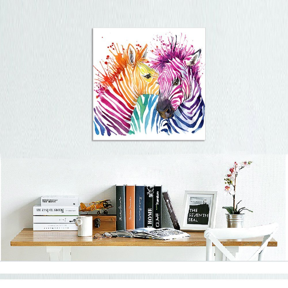 Animal Canvas Wall Art Modern Living Room Wall Decals Colorful Zebra ...