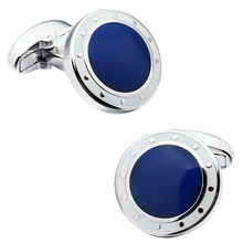 HAWSON Classic Round Sahpe Enamel Cufflinks Blue and Black Options Mens Cuff Button Free Shipping