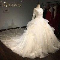 Новинка 2017 года Дизайн Лидер продаж Высокое качество Специальный Кружева свадебное платье сшитое Длинные рукава нарядное платье фабрики