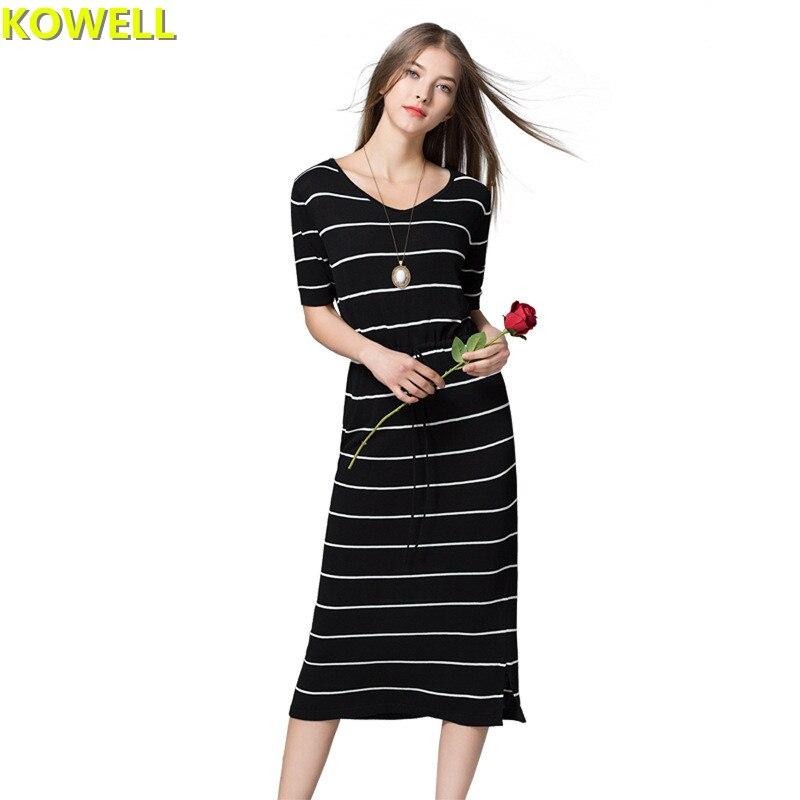 Летняя одежда для Для женщин модный свитер платье контраст Цвет полосатый Повседневное Slim v-образным вырезом женщин Knitt короткий рукав прит...
