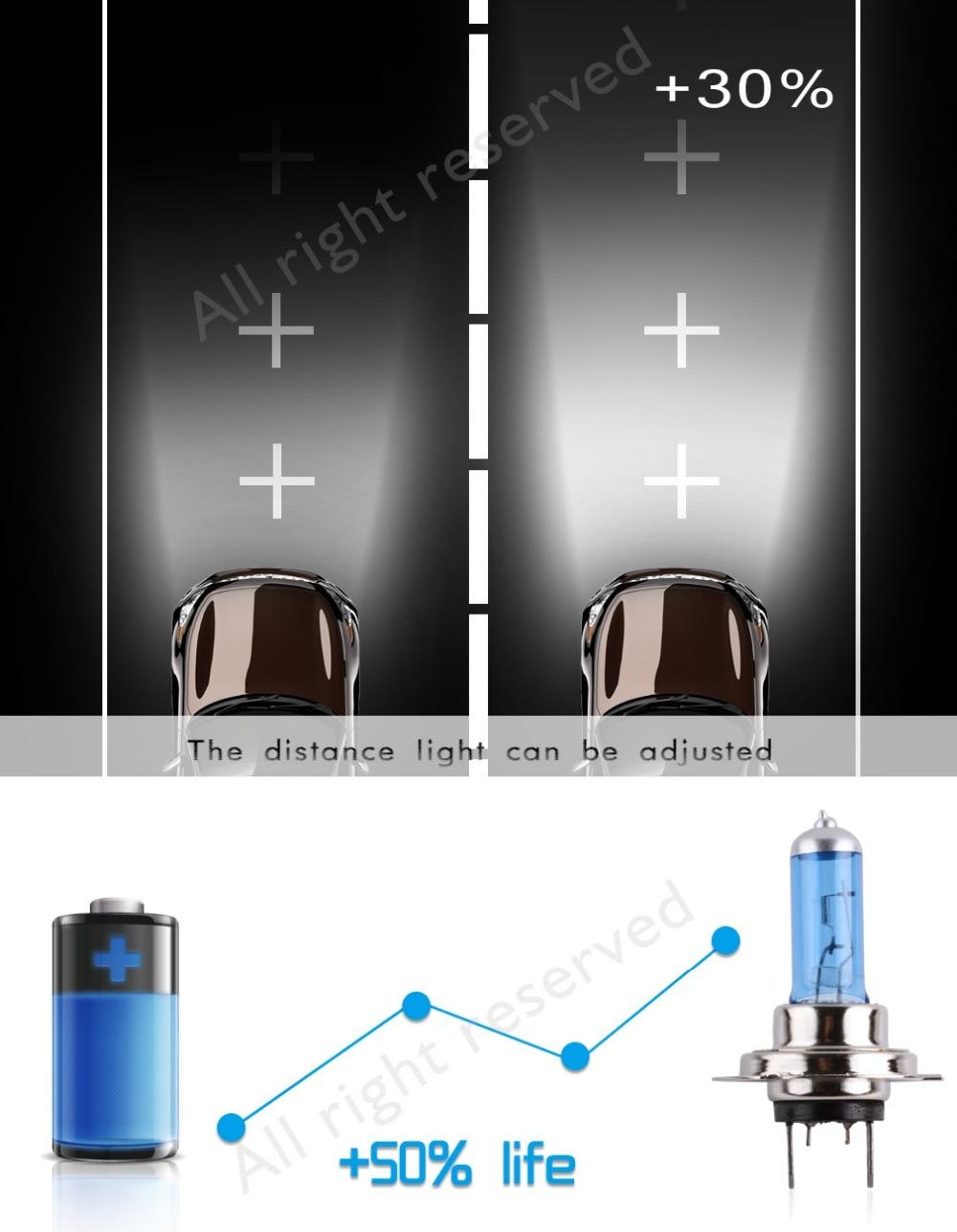 2pcs H7 100W 12V 55W Super Bright White Fog Lights Halogen Bulb High Power Car Headlights Lamp Car Light Source parking 5