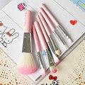 Marca New Olá Kitty 7 Pcs Mini escova da Composição Definida rosa Kit de Cosméticos Fundação Pincéis de maquiagem Make up Ferramenta Cabelo Kit