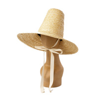01907 HH7359 handmade straw Model show high top lady sun cap women leisure beach holiday hat