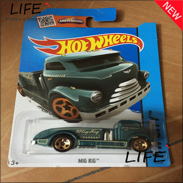 free shipping hot wheels mig rig green car models metal diecast cars collection kids toys vehicle