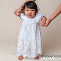Newborn white/ivory short sleeve cute infant christening gowns beautiful lace baptism dresses for toddler baby boys girls