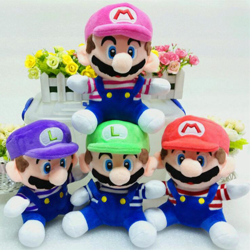 20cm Super Mario Bros Luigi Plush Toys Super Mario Stand Mario Brother Stuffed Toys Soft Dolls peluches