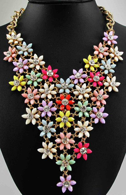 Newest long handmade Gorgeous Fashion Necklace Jewelry crystal ra Department Statement Necklace Women Choker Necklaces Pendants
