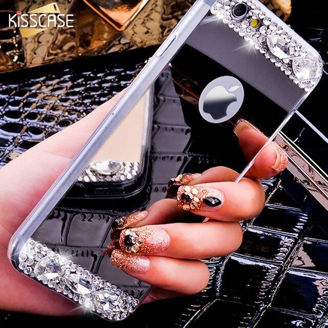 KISSCASE Diamante di Scintillio Della Cassa Dello Specchio Per il iphone 7 6 6 S Più 5 5 S SE Caso Dual Layer Bling Sottile Trasparente Della Copertura Posteriore Per il iphone 7 plus