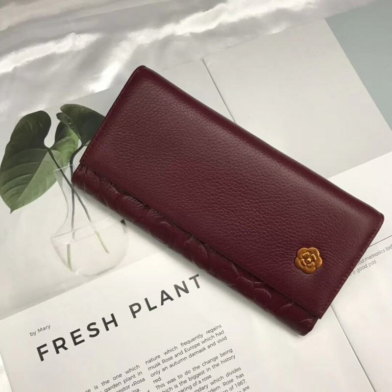 2018 Hot New Solid Genuine Leather Womens Wallet Long Leather Multi-card Bit Simple Multifunctional Retro Thin Large Capacity
