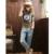 Grande Tamanho 6XL Mulheres De Cintura Alta Jeans Branco Jeans Rasgado para As Mulheres 5XL Calça Boyfriend jeans Mulheres Calça Jeans da American Apparel Femme