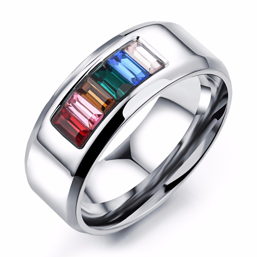 lgbt pride parades marches festivals rainbow crystal ring stainless steel jewelry lesbian gay engagement wedding rings - Gay Mens Wedding Rings