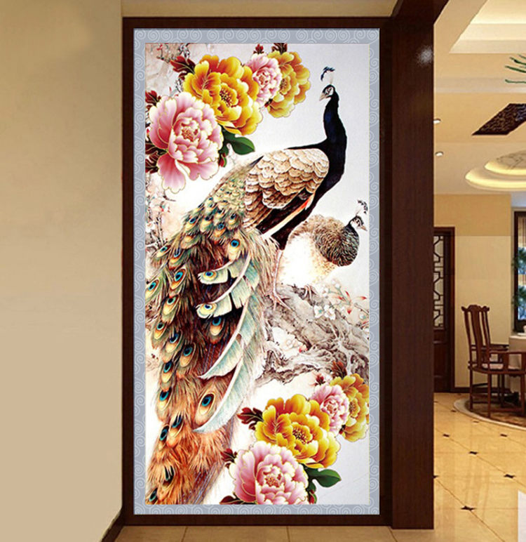 30*55 cm DIY 5D Diamante Pintura do Ponto da Cruz Do Bordado Do peacock Flor Needlework Mosaico Diamante do Ponto da Cruz